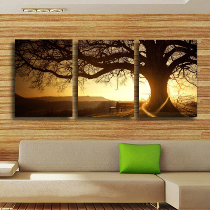 3 Panel Modern Printed Tree Painting Picture Cuadros Sunset Canvas Wall Art Home Decor For Living Room No Frame In Calligraphy From