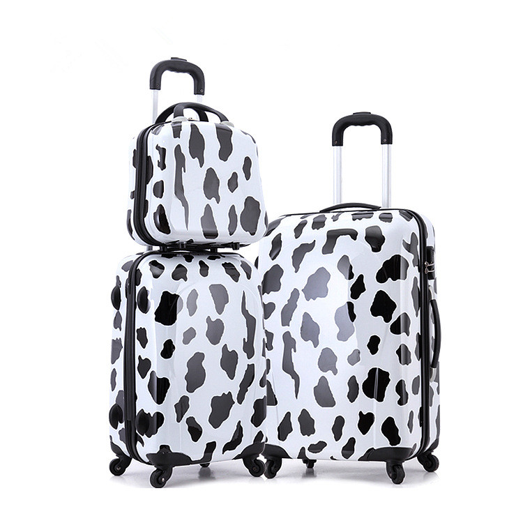 Cow grain lash box set of box combination luggage pull rod box universal wheel luggage suitcase card
