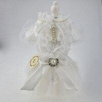 White Lace Pearl Rhinestone Dog Puppy Luxury Bow Dress Tutu Skirt Pet Dog Cat Chihuahua Princess