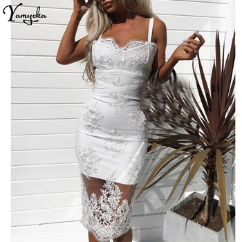 Sexy black White Mesh embroidery summer dress women befree Lace bodycon elegant dresses luxury Nightclub Party Dress vestido New sexy lace embroidery summer dress women vintage off shoulder backless dress elegant spaghetti strap casual party dresses vestido