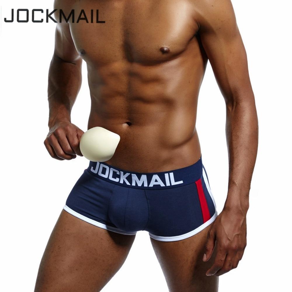 JOCKMAIL marca cueca boxer dos homens Trunks sexy Push up cup protuberância aprimorando gay underwear homens boxer shorts Ampliar cuecas