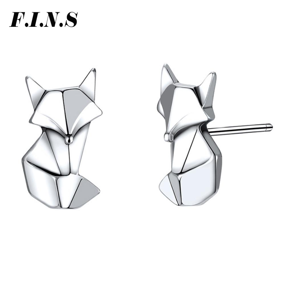 F.I.N.S Cute Chic Fox Earrings 925 Sterling Silver Genuine Stud Earrings for Women Classic Style Earing 925 Brincos Fine Jewelry fox head rhinestone stud earrings