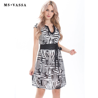 MS VASSA Women Dress 2017 Summer Casual Dress Short Sleeve Vintage Print O Neck With Opening