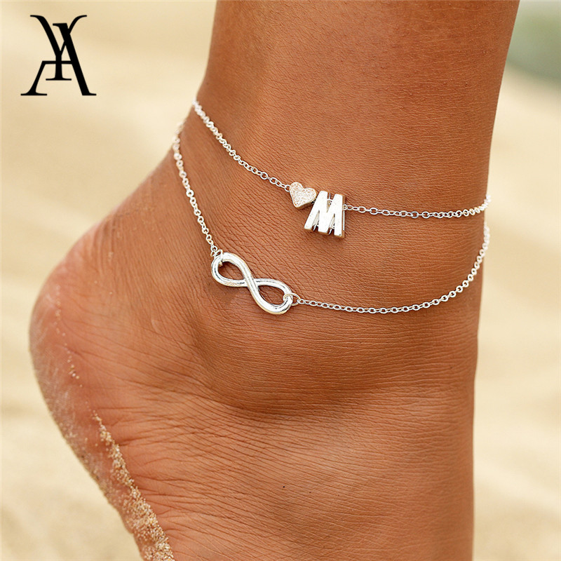 Boho Double Layers DIY Name Initial Letter Anklets For Women Silver Color Heart Infinity Ankle Bracelet Foot Jewelry Accessories