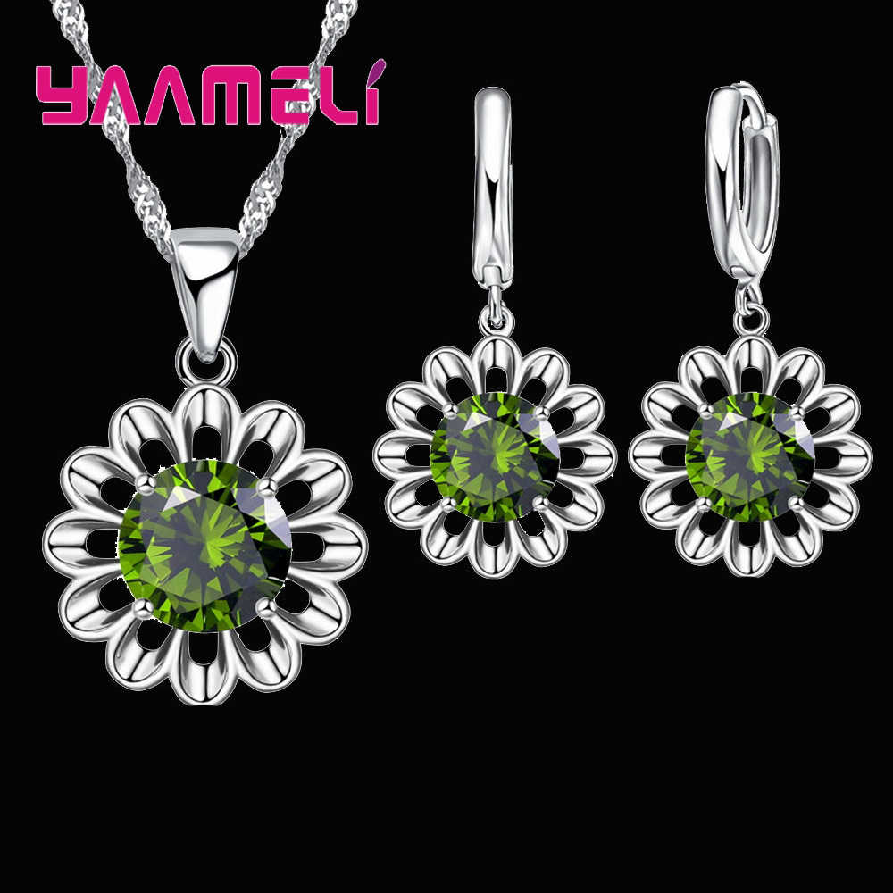 925 Sterling Silver Wedding Jewelry Set For Women Top Quality Crystal Pendant Necklace Hoop Earring Biggest Promotion