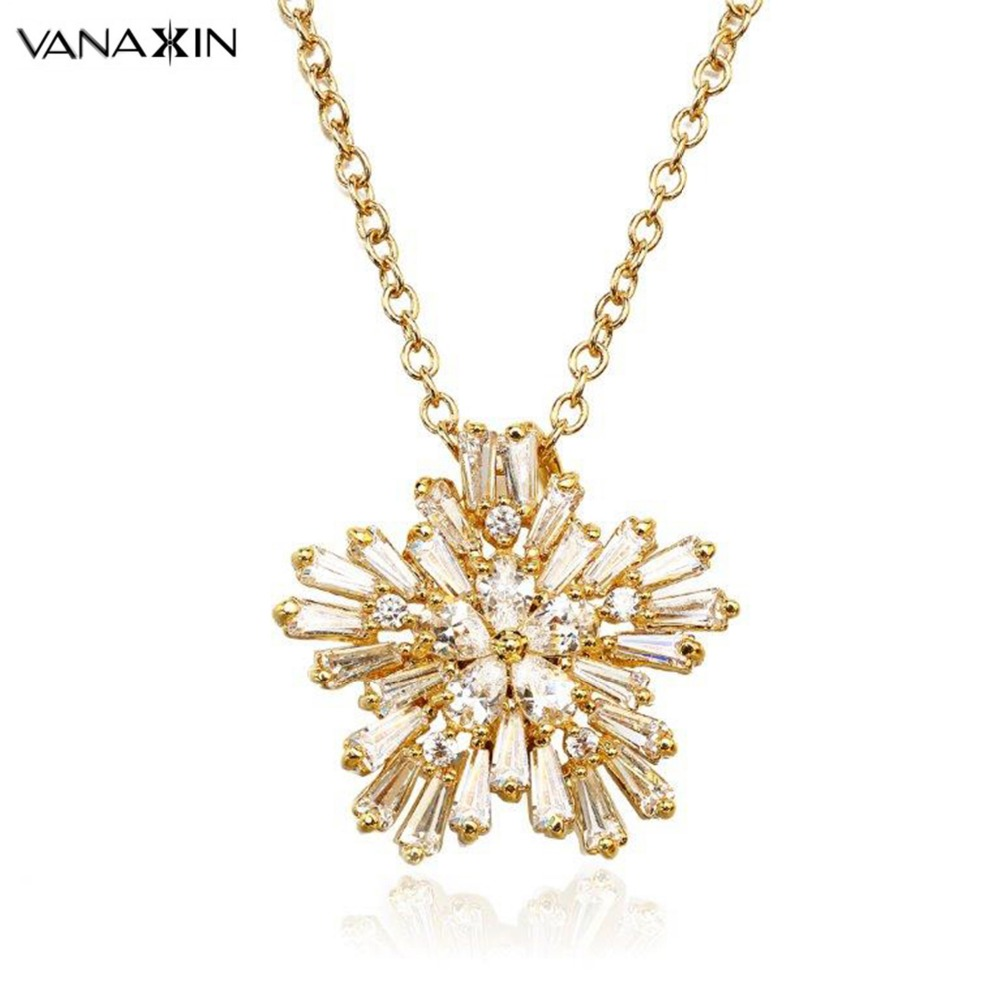 VANAXIN AAA Zircon Snowflake Přívěsek náhrdelník pro ženy Charm Chain Gold Barva Móda Přívěsek Žena Módní Náhrdelníky Dárková Krabička  t