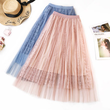 Wasteheart Autumn Pink Blue Women Fashion Lace Skirts Sexy High Waist Preppy Style Pleated Mid-Calf Length