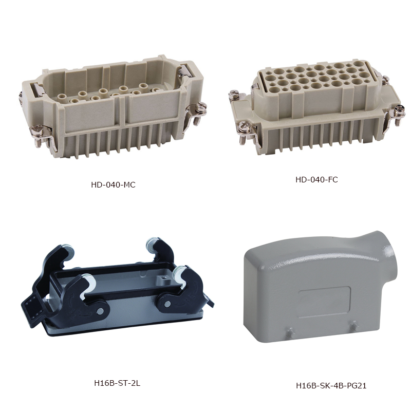 HD-040 Polycarbonate 10A 40PINs Heavy Duty Connectors industrial usage plastic screw female male insert hood and housing heavy duty connectors rectangular connectors runner connector air plugs hd 040 surface mounted with cover