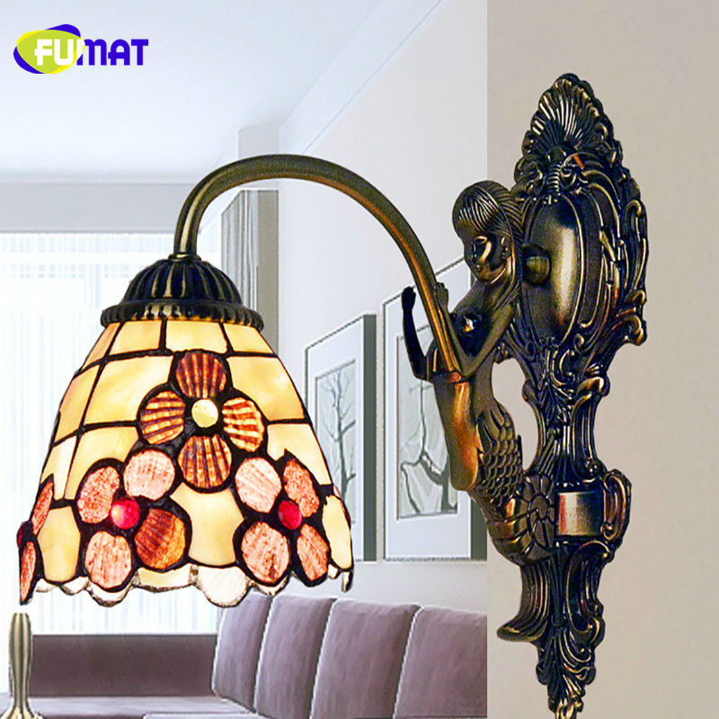 Led Lamps Beautiful Fumat Mermaid Wall Lamps 5 Inch Peony Wall Light Single Head Art Shell Wall Sconce Led Mirror Light Bedroom Bedside Wall Lamp Long Performance Life