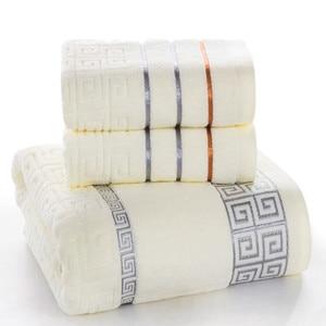 Image 2 - Plaid 100% Katoenen Gezicht Hand Badhanddoek Set voor Volwassen Badkamer 650g 3 stks/set Handdoek Sets Freeshipping