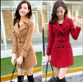 Nuevo 2015 otoño e invierno la edición de han mujeres de la ropa cultivar una de doble de pecho largo paño de lana abrigo
