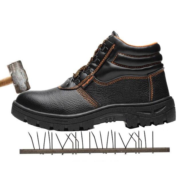 Yüksek yardım koruyucu ayakkabı çelik çanta kafa anti-delinme su geçirmez Kaymaz sitesi güvenlik ayakkabıları erkek ayakkabısı