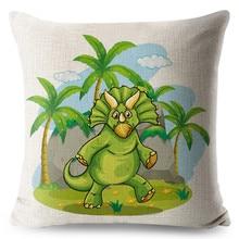 Colorful Dinosaur Linen Pillow Case Animal Cushion Cover for Sofa Home Decorative Throw Pillow Cover 45x45cm Pillowcase