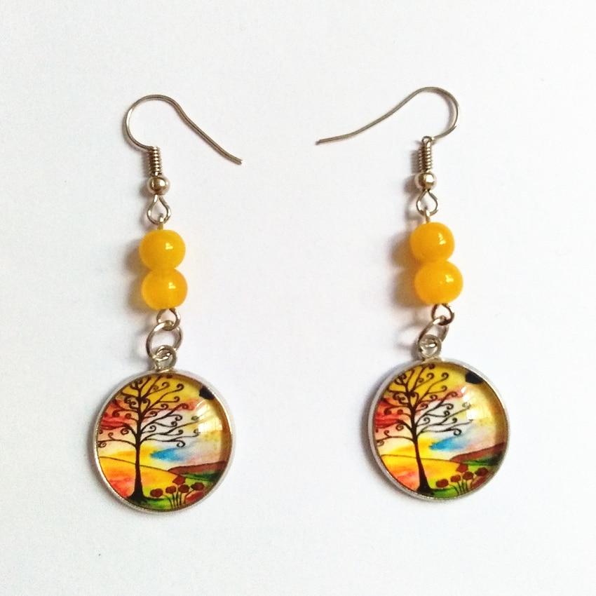 Colorful Convex Circular Life Tree Drop Earrings Stone Beads Earrings Handmade Orange Earrings Friendly Jewelry