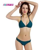 Faerdasi Handmade Crochet Bikini Set Women Dark Green Swimsuit Knot Rope Bikini Biquini Beach Wear Bathing
