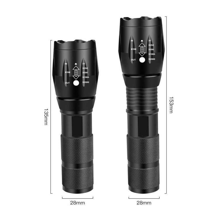 LED şarj edilebilir el feneri güç XML T6 linterna torch 4000 lümen 18650 pil açık kamp güçlü LED el feneri
