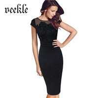 VEEKLE 2017 Summer Elegant Crochet Embroidery Office Dresses Bodycon Vintage Style O Neck Special Occasion Women