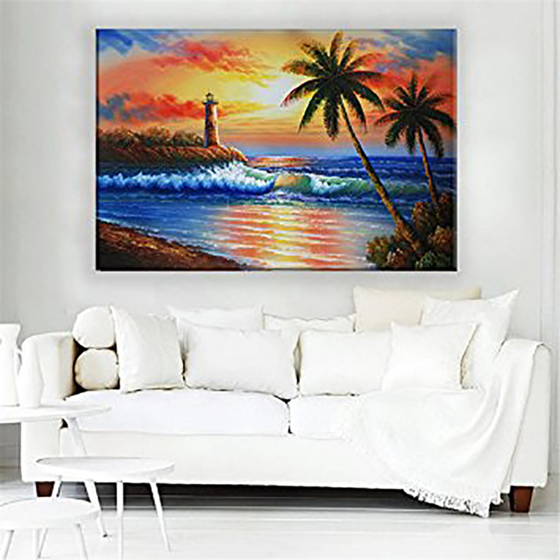DIY 5D Diamond Painting Beacon Palm Trees Embroidery Cross Stitch Needlework Handmade Wall Decor Full Round Diamond