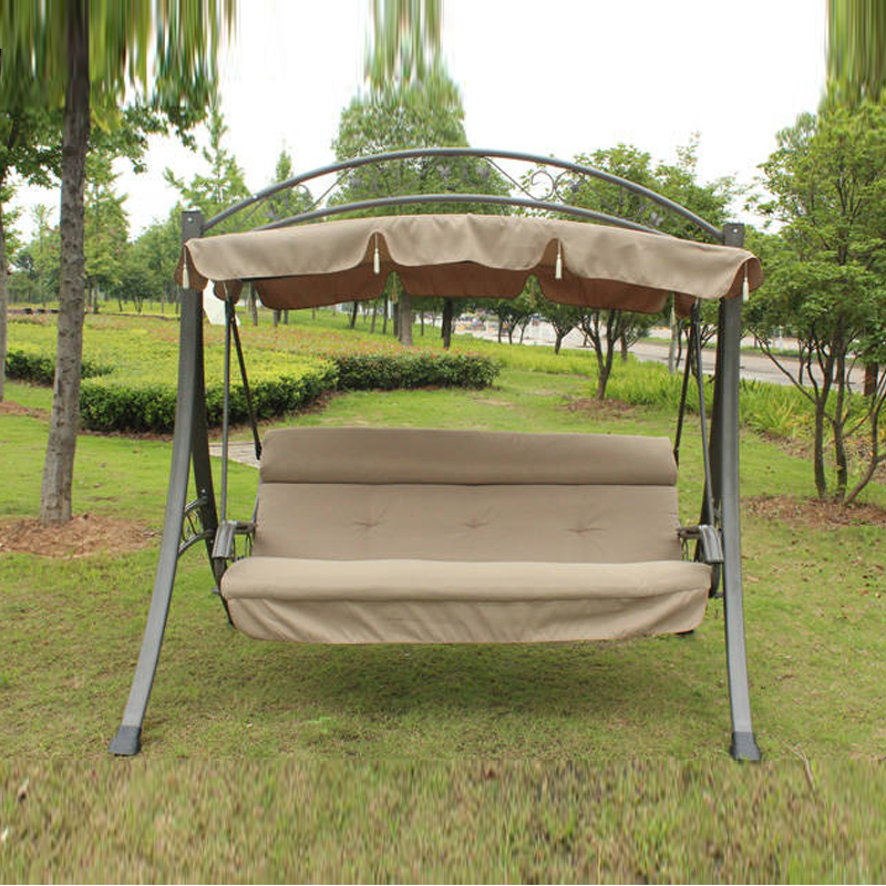 3 person high quality deluxe garden swing chair patio hammock with Arched canopy and cushion patio leisure luxury durable iron garden swing chair outdoor sleeping bed hammock with gauze and canopy