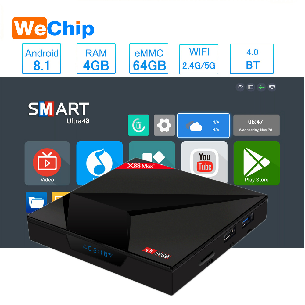 Smart TV box Android 8.1 4GB 64GB 2,4G/5G Wifi RK3328 Penta-Core BT V4.0 4K HD hinzufügen Typ-c USB X88 Max + Ott Player PK H96 max image