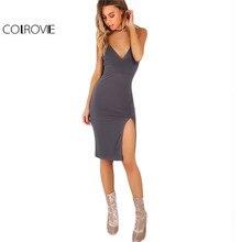 COLROVIE Split Side Cami Summer Dress Women Grey Bodycon Sexy V Neck Midi Club Dresses 2017 Fashion Backless Empire Party Dress