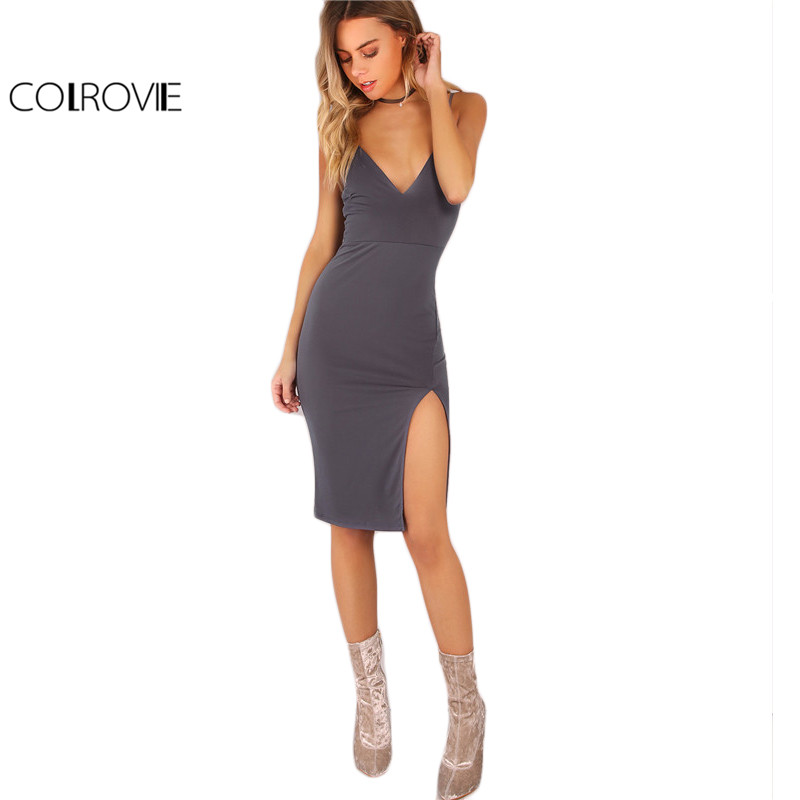 Colrovie cami dividir side summer dress mujeres gris bodycon sexy V Cuello Imper