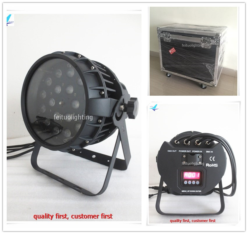 free shipping 4pcs/lot flycase Outdoor 18x18w Zoom LED Wash Par Lights Can RGBWA UV 6IN1 Strobe Effect DMX Show Party Stage Lamp