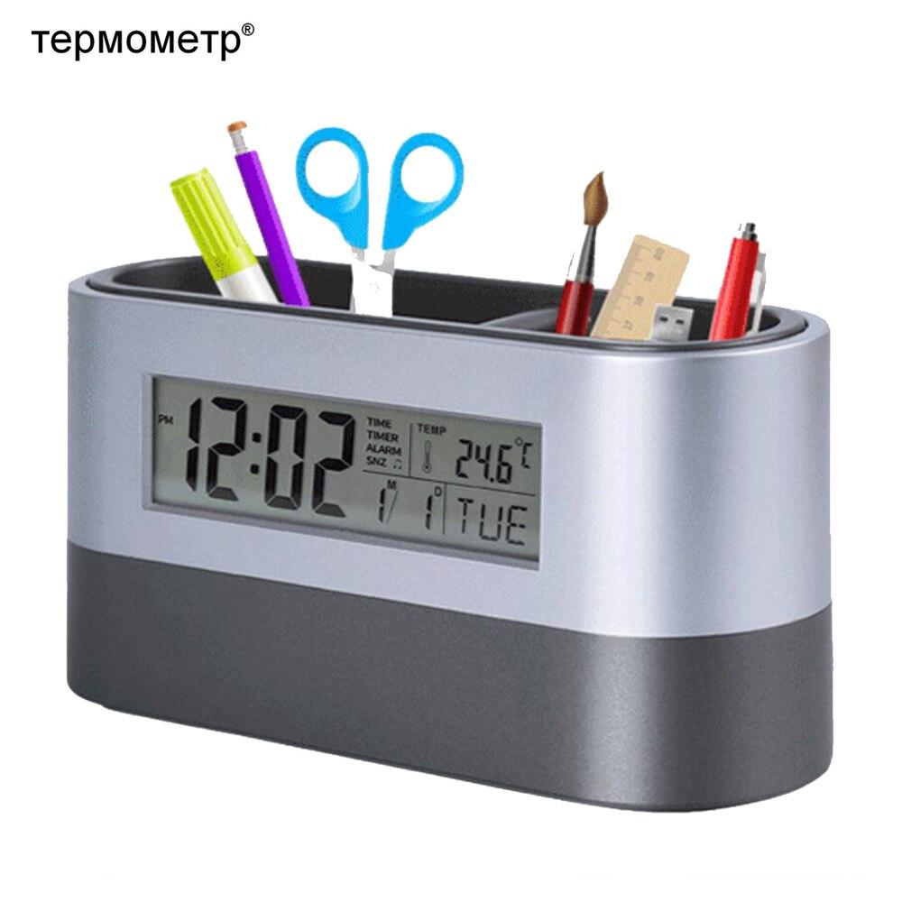 Bureau De Stockage De Bureau Porte-Stylo Outils Nom Contenant La Carte avec Numérique D'alarme Horloge Minuterie Calendrier Température Thermomètre