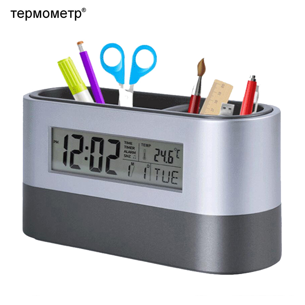 Office Desktop Storage Pen Holder Tools Name Card Container with Digital Alarm Clock Timer Calendar Temperature Thermometer