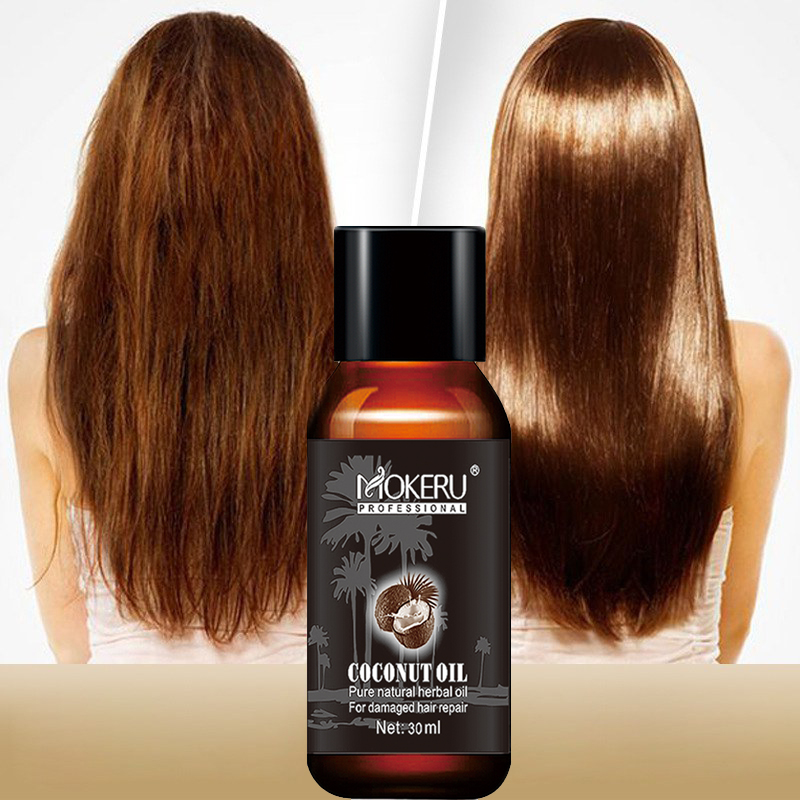Mokeru 2pcs/Lot Natural Smoothing Repair Damaged Dry Hair Oil Spray Growing Virgin Coconut Oil Pure for Hair Skin Care Treatment 1