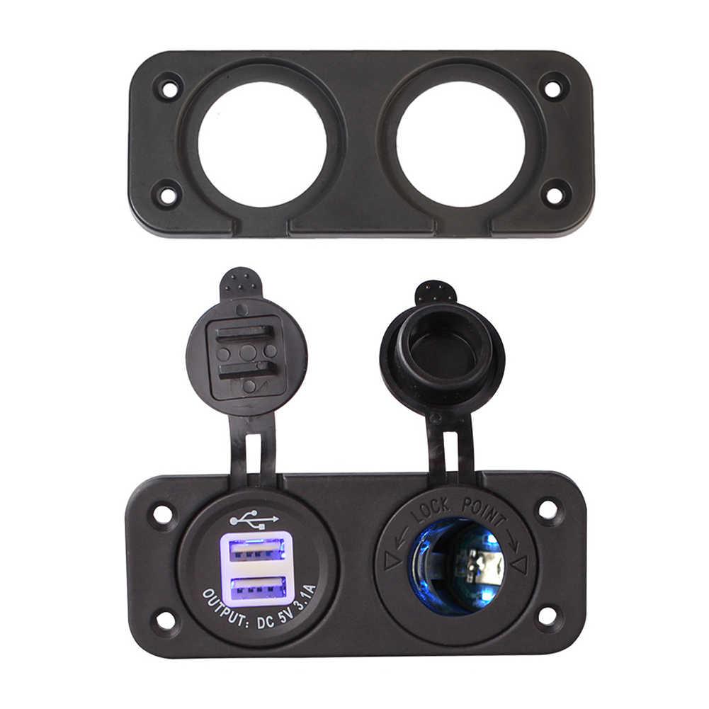 Holes Panel Dual USB Power Voltmeter Socket Panel Cigarette Lighter Marine Boat Car Motorcyle