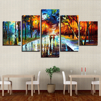 5 Panel Tree Lovers Canvas Painting Street Lamp Wall Art Home Decor For Living Room Modern