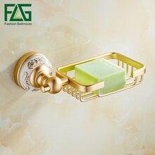 FLG Soap Dishes Holder Space Aluminum Gold Finish With Ceramics Box Bathroom Accessories