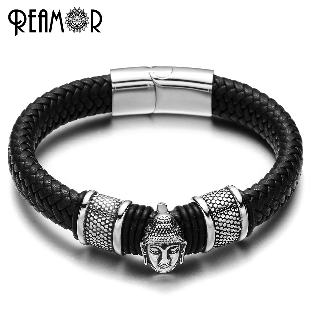 REAMOR 316L Stainless Steel Men Leather Bracelets Thailand Buddhist Bracelet Braided Leather Trendy Male Jewelry Cuff Bangles bracelet