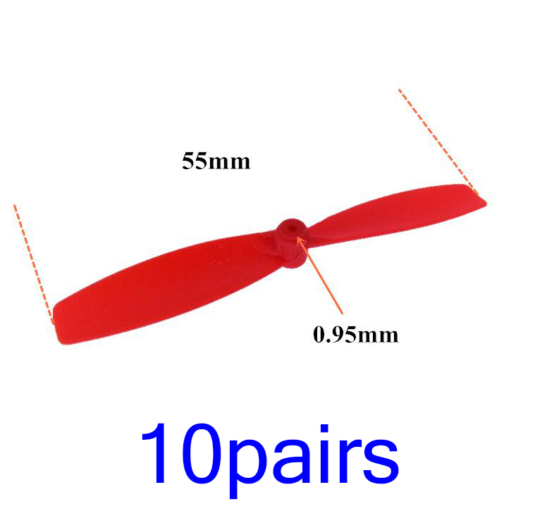 10 Pairs 1mm Shaft Propeller for DIY RC Airplane Quadcopter Drone Model CW CCW Plastic Prop Length 55mm image