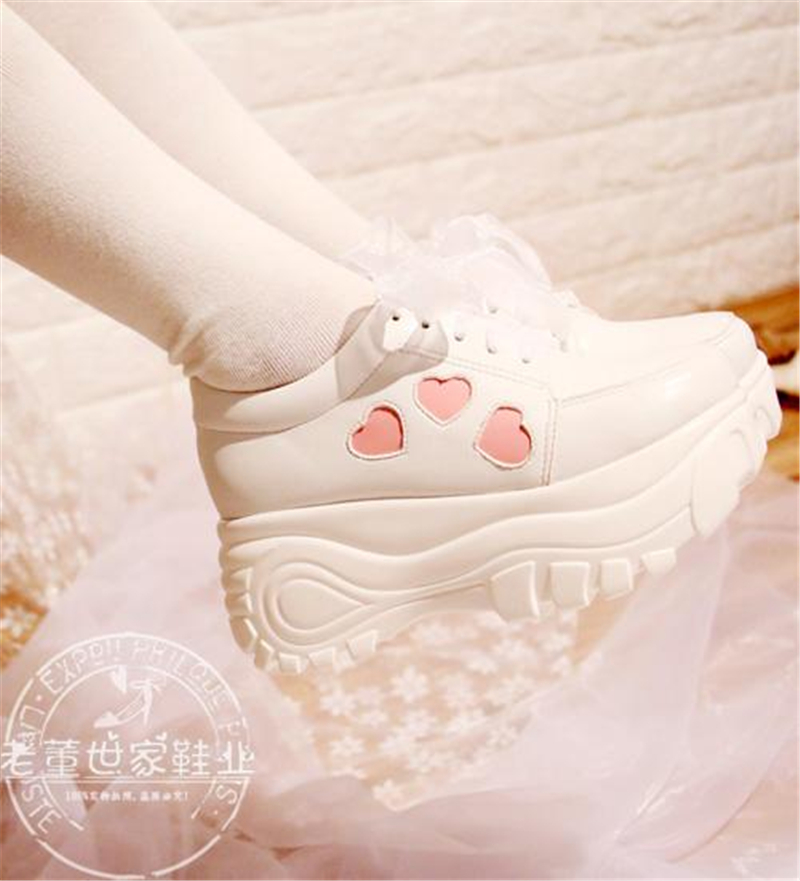 Japanese Lolita Sneakers Shoes Love Sweet Cute Student Princess Girl Cosplay Shoes mori girl japanese cute bow buckle students single shoes school uniform jk leather shoes cross straps lolita princess shoes page 3