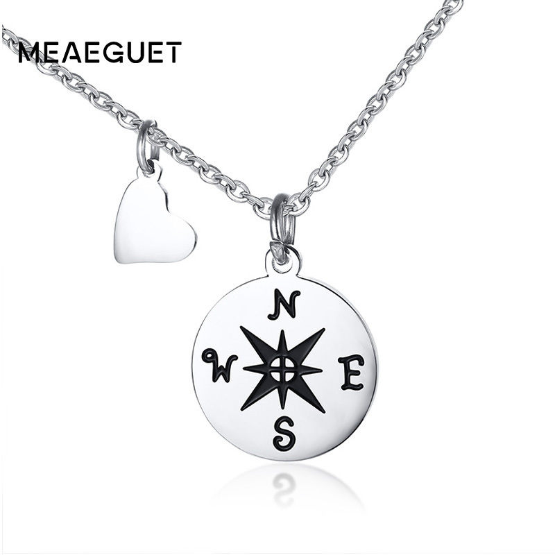 Best Friend BFF Gift Travel Compass With Heart Friendship Women Necklace Pendant In Silver Color Charm Chocker Chains 20inch