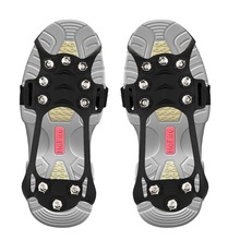 New 10 Stud Manganese Steel Ice Gripper Spikes for Shoe Anti Slip Climbing Snow Crampons Cleats Chain Claws Grips Boots Cover