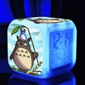 Desktop Clock Color Light Vintage Desk Clock Action Toy Figure Kids Alarm Clock Totoro Japanese Anime Catton Led Digital Watch