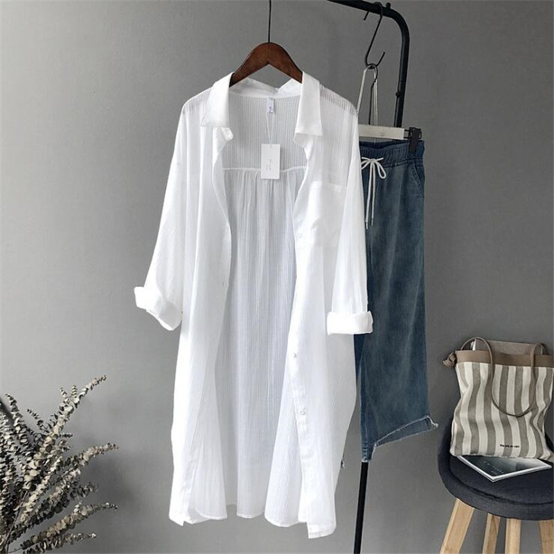 Cotton Casual White Long Blouse Women 2019 Autumn Sleeve Shirts High quality loose Tops