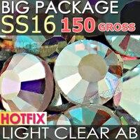 Big Package 200Gross SS16 Light Clear AB Crystal Rhinestones HotFix FlatBack DMC Strass For DIY Glass