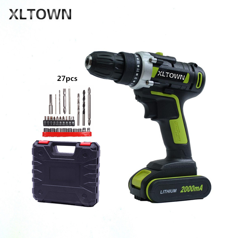 XLTOWN 21V 2000mAh electric screwdriver household cordless electric drill power tools Rechargeable electric screwdriver free shipping brand proskit upt 32007d frequency modulated electric screwdriver 2 electric screwdriver bit 900 1300rpm tools