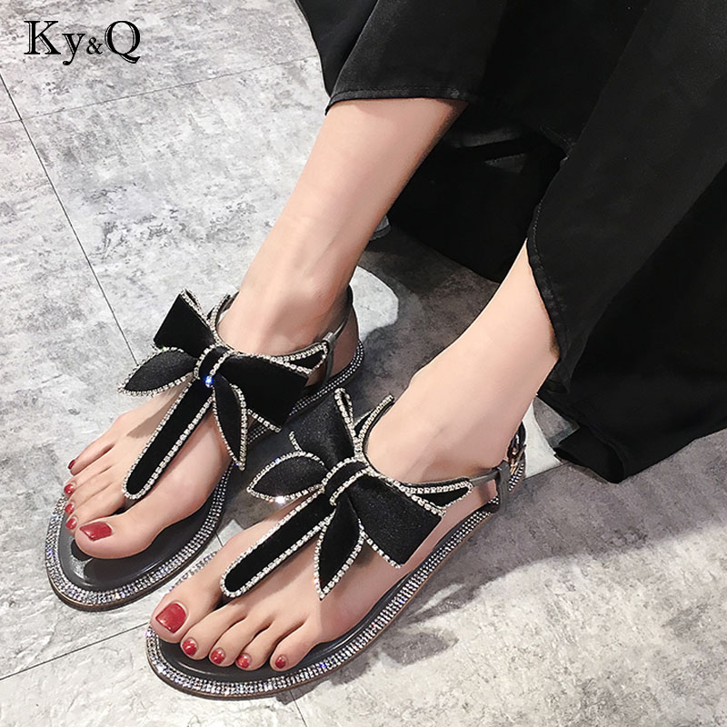 Women Flip Flops Fashion Solid Color Crystal Diamond Bow tie Flat Heel Sandals Size 36-40 Outdoor Slipper Beach Shoes For Female 2018 new bohemian women sandals crystal flat heel slipper rhinestone chain women casual beach shoes size 34 44