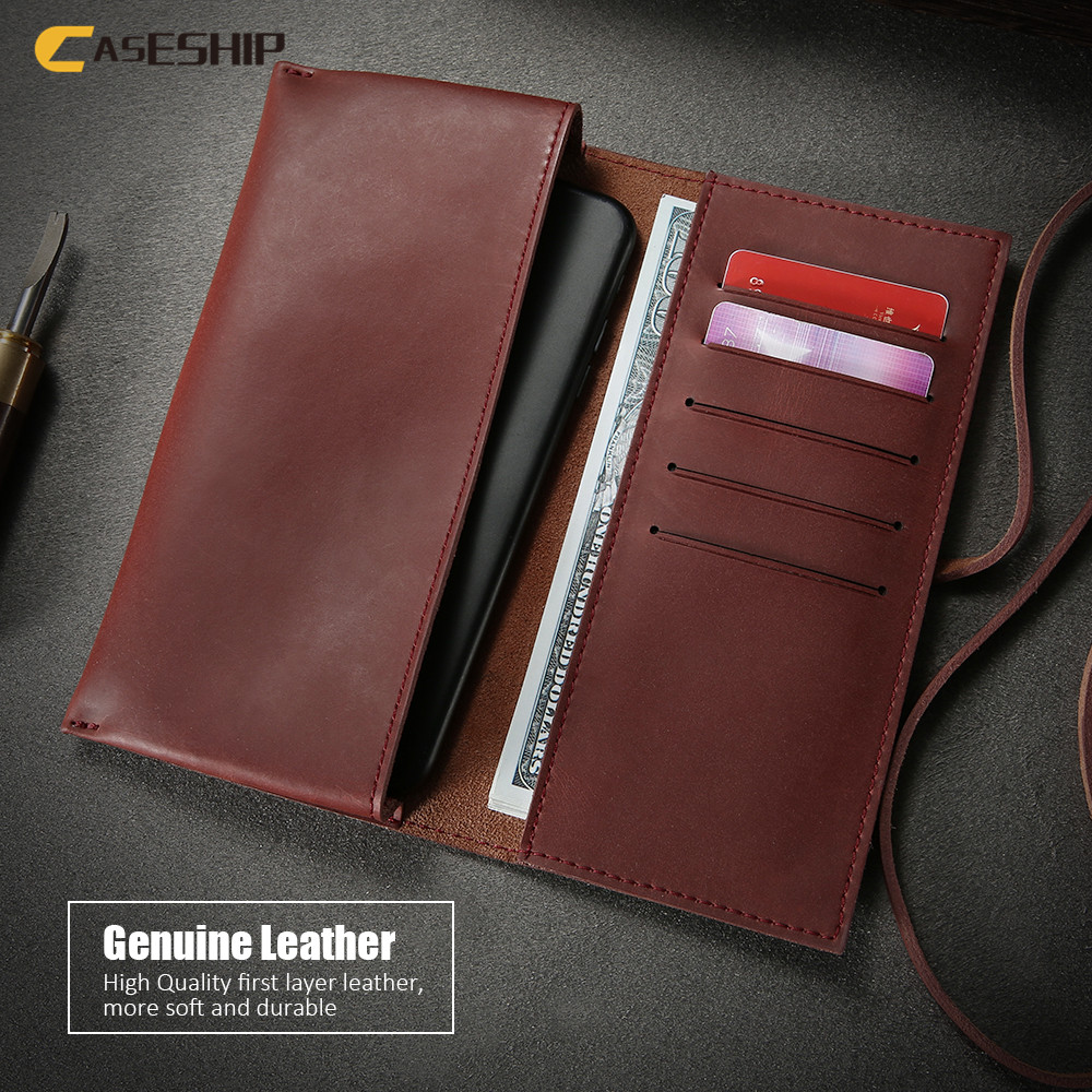 CASESHIP Luxury Genuine Leather Phone Case For iPhone 6 6S 7 8 Plus X 10 Cases Retro Leather Wallet Cover For Samsung S8 S9 Plus