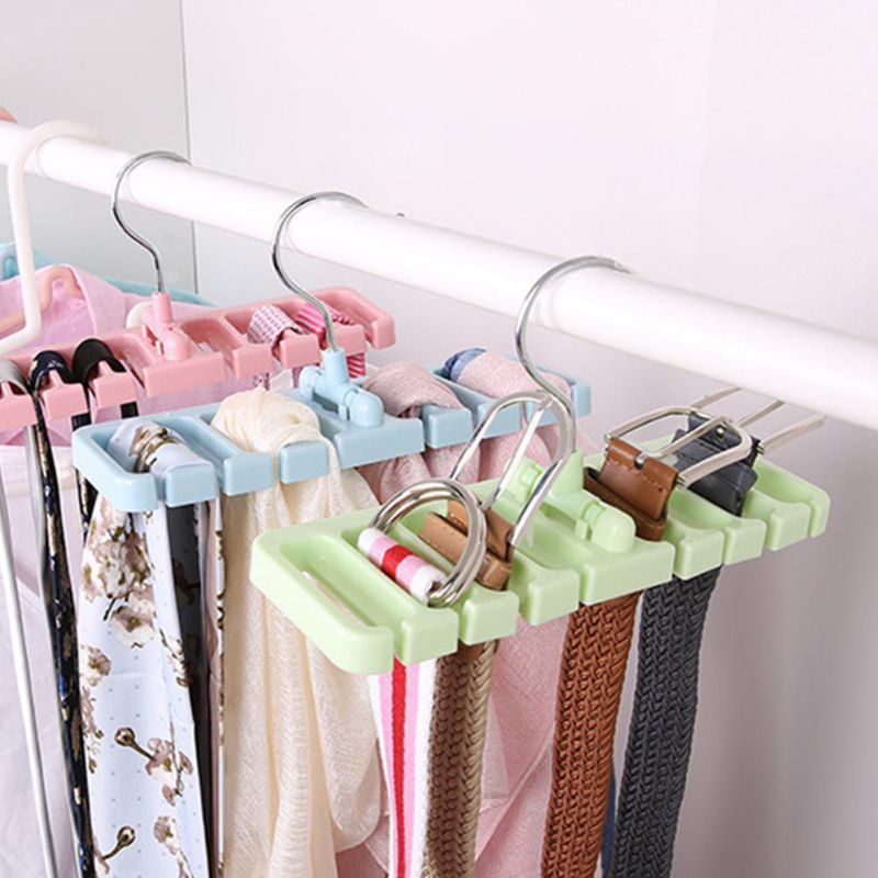 Hot Rack Tie Belt Organizer Space Saver Rotating Scarf Ties Hanger Holder Hook Closet Organization Belts Bag Holder