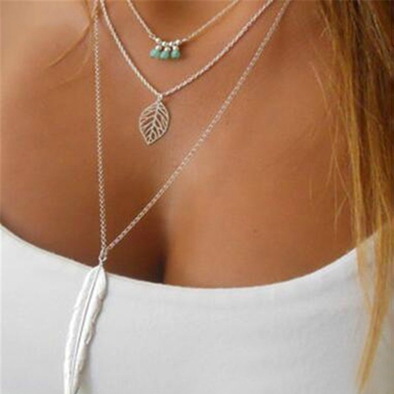 Simple-Multilayer-Necklace-Leaf-Beads-Feather-Pendant-Choker-3-Layer-Chain-Necklace-CX17