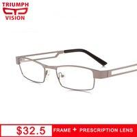 TRIUMPH VISION Square Business Type Computer Glasses Prescription Cool Design Eyeglasses Graduated 1.61 1.67 Lens Spectacles