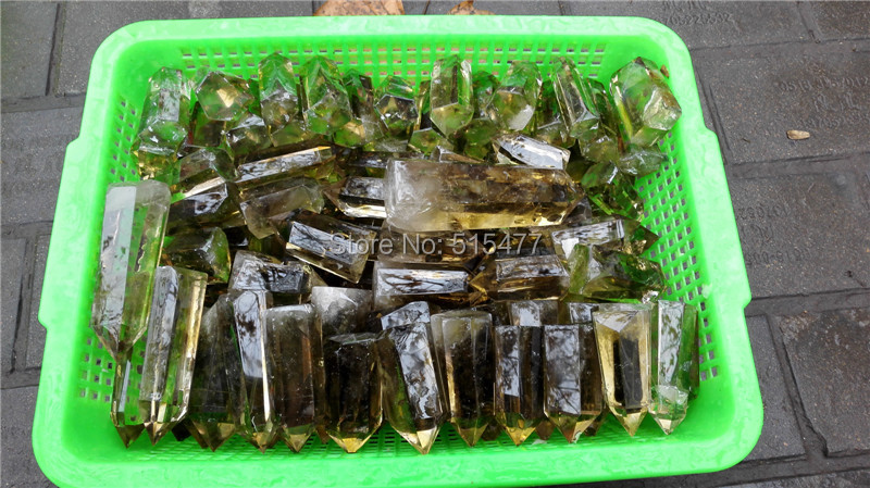 1KG NATURAL RAINBOW SMOKEY CITRINE QUARTZ CRYSTAL POINT HEALING,Wholesales Price Free Shipping feng shui natural citrine gem stone money tree 9 inch yellow crystal money tree