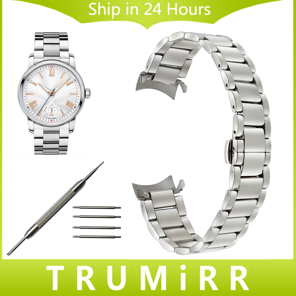 Curved End Stainless Steel Watchband 18mm 20mm 22mm for Montblanc Men Women Watch Band Butterfly Clasp Strap Wrist Belt Bracelet curved end stainless steel watchband for rado men women watch band wrist strap butterfly clasp belt bracelet 18mm 20mm 22mm 24mm