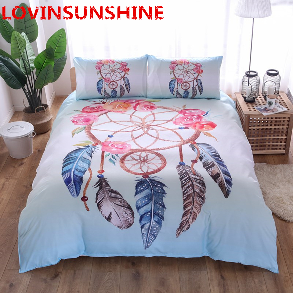 Power Source India Bohemian Style Bedding Set Feather Printed Bedlinen Set Queen Size Datura Duvet Cover Pillowcase Dreamcatcher Us King Size
